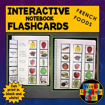 French Food, Fruit, Vegetables Interactive Notebook Flashcards, La Nourriture