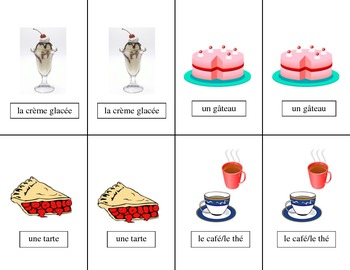 French Food - La Nourriture Vocabulary Pair Cards