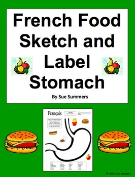French Food Sketch and Label Full Stomach Vocabulary Activity