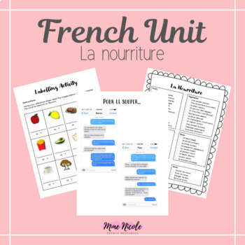 French Food Unit - Includes Reading, Listening, Writing, and Speaking activities
