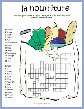 french food vocabulary crossword la nourriture by puzzles to print. Black Bedroom Furniture Sets. Home Design Ideas