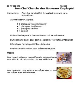 French Food and Adjective Educreation Project