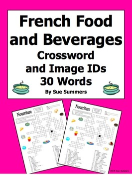 French Food and Beverages Crossword Puzzle, Image IDs, and Vocabulary
