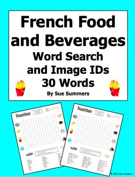 French Food and Beverages Word Search Puzzle, Image IDs, and Vocabulary
