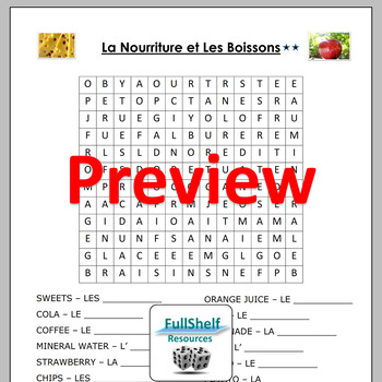 French Food and Drink (La Nourriture) Worksheets and Puzzles