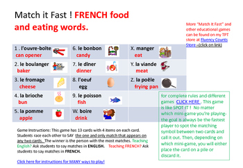 French Food and Eating WORDS- MATCH IT FAST !