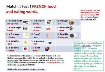 Match it fast!   French (Food and Eating WORDS) while having FUN!