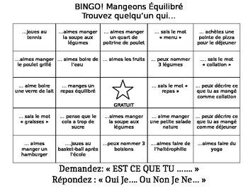 Core French - Food and Exercise Human Bingo