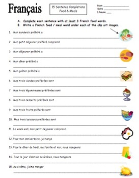 French Food and Meals 15 Sentence Completions - La Nourriture