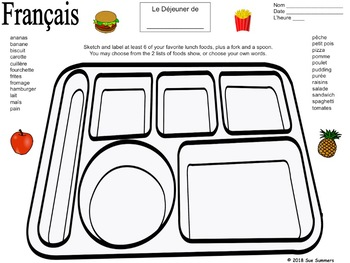 French Foods Lunch Tray Sketch and Label Activity - La Nourriture