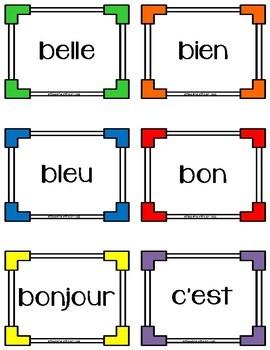 French Sight Word Learning Cards - Francais
