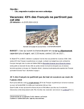 French Francais Vacances Authentic text and questions AP Contemporary life