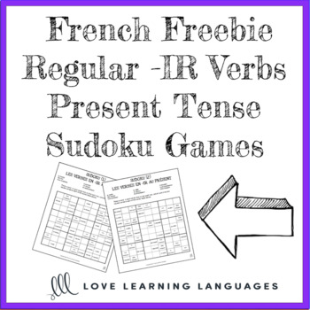 French Freebie - Regular -IR verbs present tense sudoku games