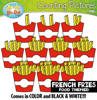 French Fries Counting Pictures Clipart {Zip-A-Dee-Doo-Dah Designs}