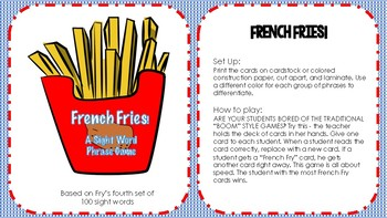 French Fries Sight Word Phase Game (4th set of 100)