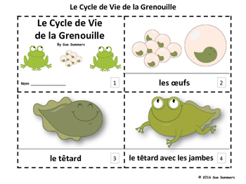 French Frog Life Cycle 2 Emergent Reader Booklets