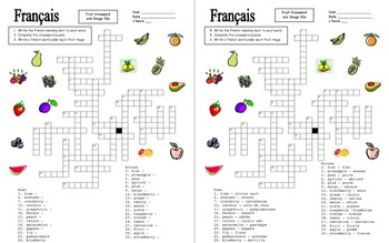 French Fruit Crossword Puzzle and Image IDs Worksheet, and Vocabulary
