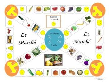 French Fruit & Vegetable Vocabulary Le Marché Game Board