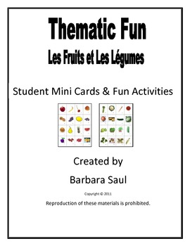 French Fruit & Vegetable Vocabulary Mini Student Cards and
