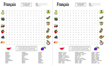 French Fruit Word Search Puzzle, Image IDs, and Vocabulary