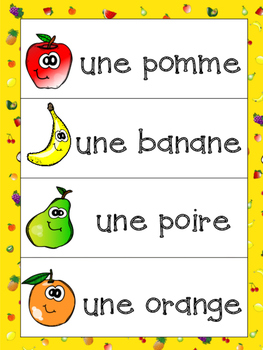 French Fruits Bundle- Writing Booklet, Vocabulary sheet and Word Wall Visuals