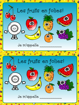 French Fruits Bundle- Writing Booklet, Vocabulary sheet an