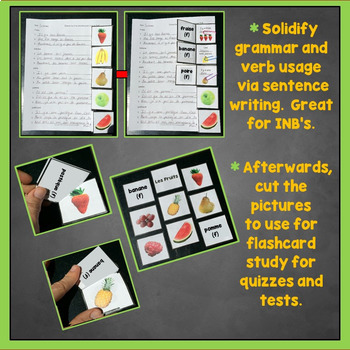 French Fruits Interactive Notebook Trifold Flashcards