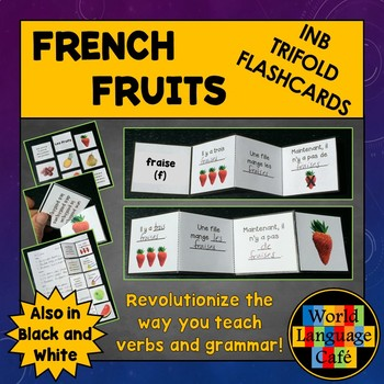 French Fruits Flashcards, Interactive Notebook Trifold Flashcards