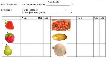 French Fruits & Légumes Conversation Activity