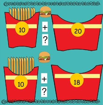 """French Fry Math - Making 2 digit Numbers with Groups of 10 and """"Fries"""""""