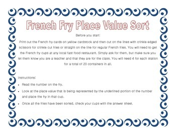 French Fry Place Value Sort