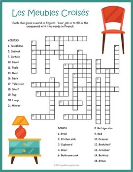 French Furniture Vocabulary Crossword: Les Meubles