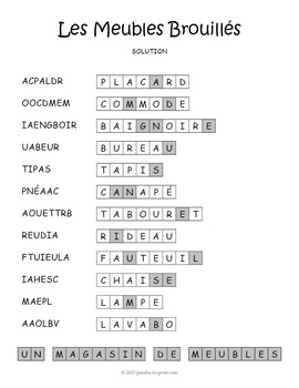 French Furniture Vocabulary Word Scramble: Les Meubles