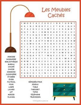 French Furniture Vocabulary Word Search Puzzle: Les Meubles