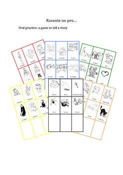 French DICE CARDS Game: tell a story-Raconter une histoire