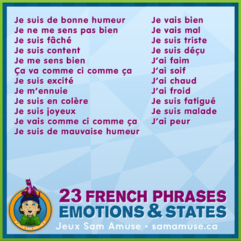 French Games & Activities - Feelings and States of mind - Circus