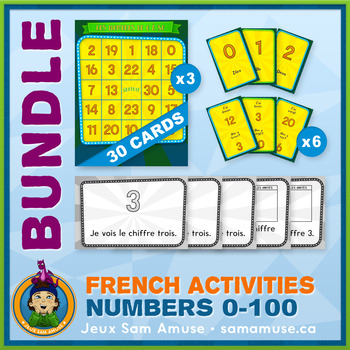 French Numbers 0 to 100 • Booklets, Bingo & Card Games Bundle • Circus Theme