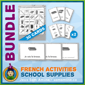 French Games & Activities - School Supplies - Abstract