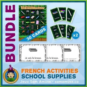 French School Supplies • Booklets, Bingo & Card Games Bundle • Jungle Theme