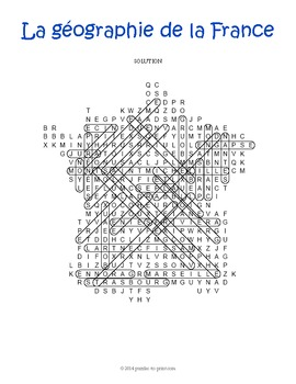 French Geography Word Search Puzzle