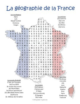 French Geography - France Word Search