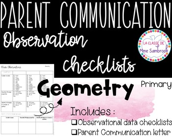 French Geometry Observations Checklists I Parent Communication Checklists