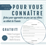French Get to Know You Student Worksheet / Pour vous connaître