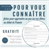 French Get to Know You Student Worksheet / Pour vous connaître (en français)