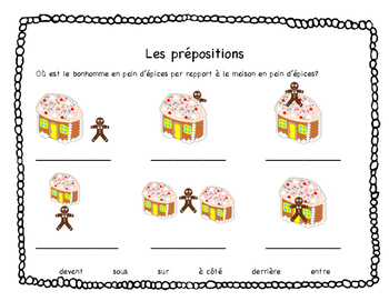French Prepositions Worksheet - Christmas (Gingerbread) Theme