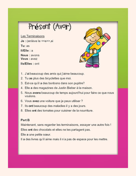Grade 6 to 8 French Bell Work : Verb Conjugation (Avoir)
