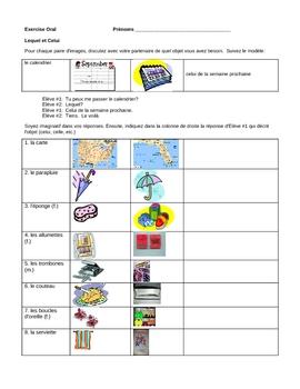 French Grammar Activity - Lequel and Celui