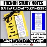French Grammar Bookmark Study Notes BUNDLE