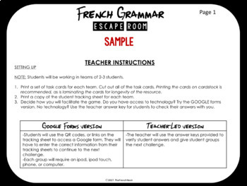 French Grammar Escape Room - SAMPLE