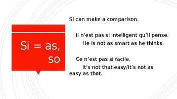 French Grammar - Le mot si en francais